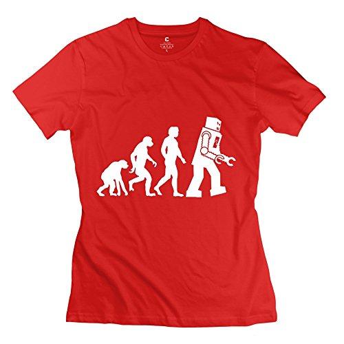 Jiuzhou Women's Tshirts Sheldon Cooper Human Evolution Futurama Robot Evolution Geek XS Red (Alex Toys Water Bottle)