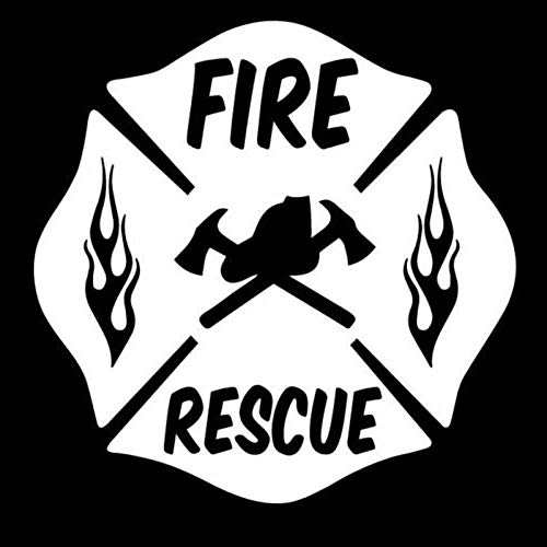 Hitada - 8x8CM FIRE RESCUE FIREFIGHTER MALTESE CROSS Vinyl Decal Car Window Glass Sticker Black/Silver