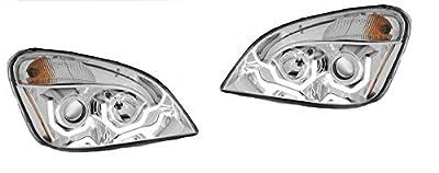 Freightliner Cascadia Chrome Crystal Projector LED Headlight Set Passenger & Driver Side - NEW PAIR