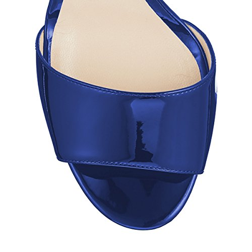 High Shoes patent Slip Peep Clog YDN Toe Slide on Comfort Mules Pumps Sandals Women Blue Dress Heel 6EnxxAq1aw