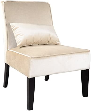 CorLiving Antonio Lounge Chair in Soft Cream Velvet