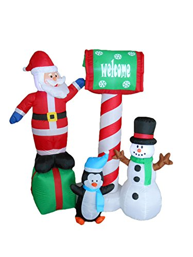 5 Foot Tall Christmas Inflatable Santa Penguin and Snowman Waiting for Mail Yard (Penguin Santa Costume)