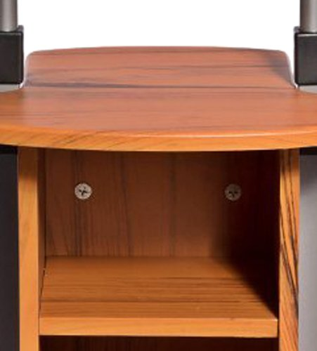 Adjustable Height Laptop Cart With Storage Color Woodgrain