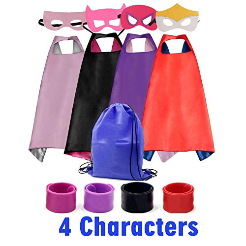 Dress up Costume Girls Superhero Capes and Mask Set 4 Charaters with Drawstring Backpack and Matching Shaped Rubber Wristbands for Kids, Birthday Party Children -