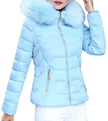 Corta Parka Acolchado Con Azul Invierno Jacket Abrigos Mujer Casual Yeesea Capucha Outwear Peluda OZqw6aYx