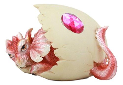 Ebros July Birthstone Dragon Egg Statue Ruby Pink Gem Birthday Dragon Hatchling Figurine Fantasy Collector