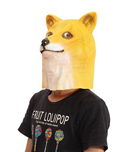 Doge Head Mask Creepy Animal Halloween Costume Theater Prop Latex Party Toy by Advanced]()