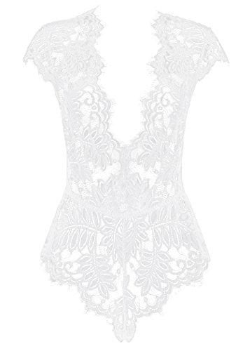 AvaLolita Women's Lingerie Floral Lace Bodysuit Deep V Babydoll L White ()