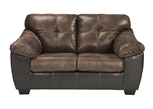 (Ashley Furniture Signature Design - Gregale Contemporary Upholstered Loveseat - Coffee Brown)