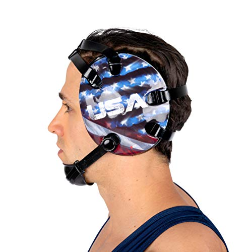 4-Time All American Wrestling Headgear for Men, Women, and Youth, MMA, Sparring, Boxing, and Wrestling Mat Ear Wrap Gear/Supplies, Exercise Equipment (USA Eagle) ()