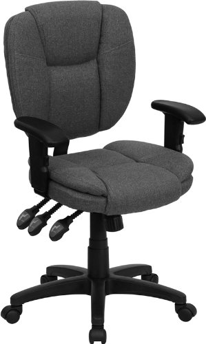 Flash Furniture Mid-Back Gray Fabric Multi-Functional Ergonomic Task Chair with Arms