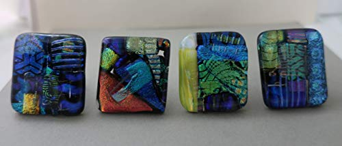 (Set of 4 handcrafted fused dichroic glass cabinet knobs, drawer pulls Satin nickel)