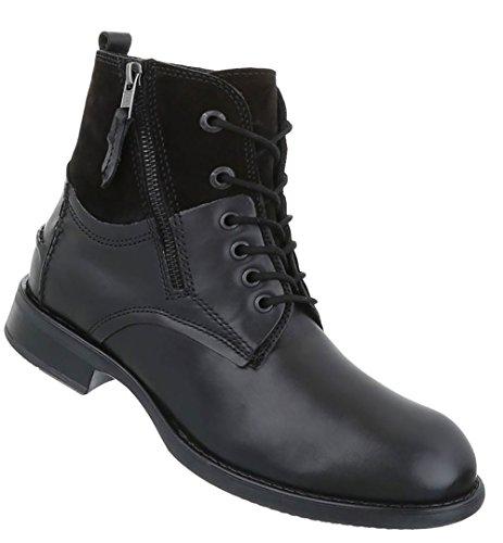 Schwarz Schuhe Boots Schnürer Herren Stiefeletten Leder qX7WHw11