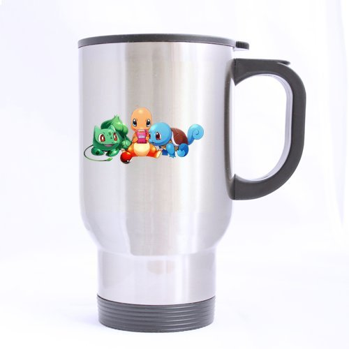 Pokemon Three Cute Pets Customize Personalized Travel Mug Sports Bottle Coffee Mugs Silver 14 OZ Office Home Cup Two Sides Printed
