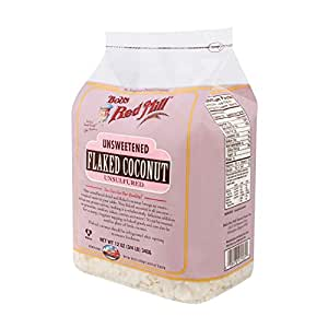Bob's Red Mill Unsweetened Flaked Coconut, 12 Ounce (3/4 LB ) 340g