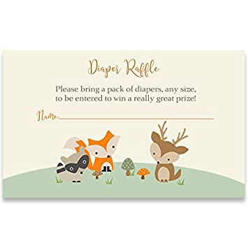 Amazon Com Woodland Friends Diaper Raffle Tickets Forest Friends Baby Shower Diaper Party Cards Nature Zoo Animals Fox Deer Raccoon Treetop Gender Neutral Unisex 25 Count Baby