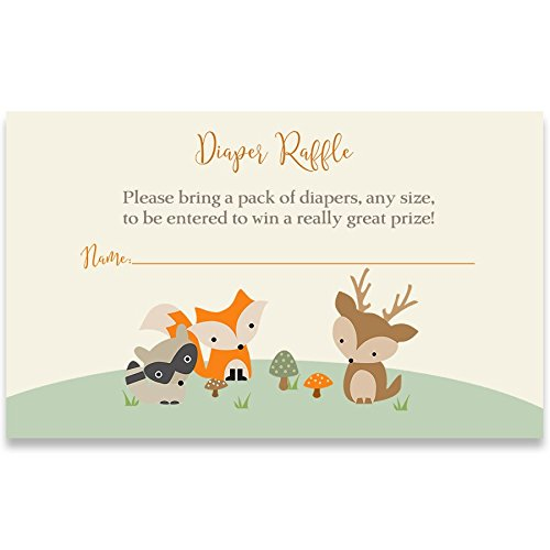Invitation Best Friends (Woodland Friends Diaper Raffle Tickets Forest Friends Baby Shower Diaper Party Cards Nature Zoo Animals Fox Deer Raccoon Treetop Gender Neutral Unisex (25 Count))