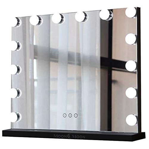MoonMoon Hollywood Vanity Mirror with Lights,Professional Makeup Mirror with Smart Touch Adjustable 15 Bulbs LED Lights and USB Charging(Black) (Black Vanity Mirror)