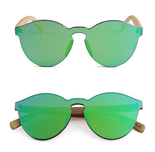 de soleil Lunettes intégrées UV400 en bois de rondes lunettes bambou jambes Huateng Grün polarisées non classiques rondes wRpT4fqx