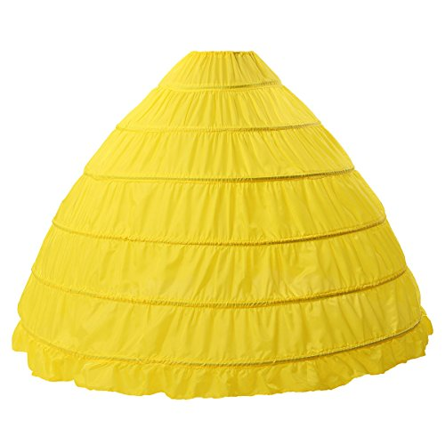 MISSYDRESS Full A-line 6 Hoops Floor-Length Bridal Dress Gown Slip Petticoat Yellow