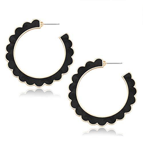 (HEIDKRUEGER Leopard Hoop Earrings Geometric Faux Leather Wave Hoop Earrings Bohemian Goldtone Open Circle Statement Stud Earrings for Women (Black Leopard))