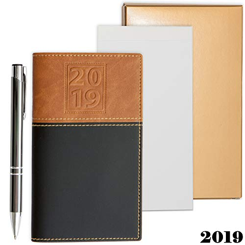 alendar Organizer | Business Polished Chrome Trim Pen & a Notepad Included | 12 Months Week-in-View Planner, Weekly Quotes | All in a Gold Gift Box Set. ()