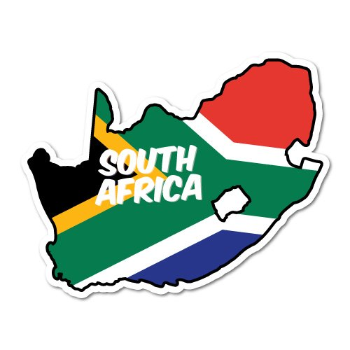South Africa Continent Flag Sticker Flag Bumper Water Proof - Shape Of South Africa