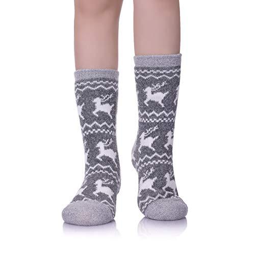 LINEMIN Womens Plus Size Super Soft Warm Fuzzy With Grips Fleece-lined Winter Christmas gift Slipper socks/Shoe Size: 7-12 (Deer Light Gray) from LINEMIN