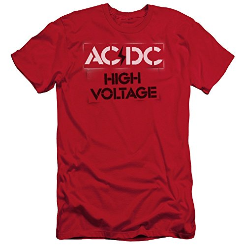 ACDC/HIGH VOLTAGE STENCIL - S/S ADULT 30/1 - RED - LG - Red - LG