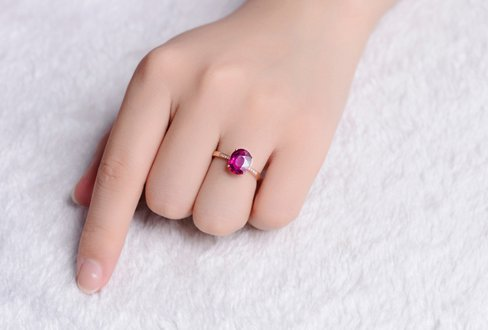 GOWE NEW ARRIVAL REAL 18K ROSE GOLD 1.0 CT REAL DEEP PINKLISH PURPLE TOURMALINE RING 0.02 CT DIAMOND RING 3