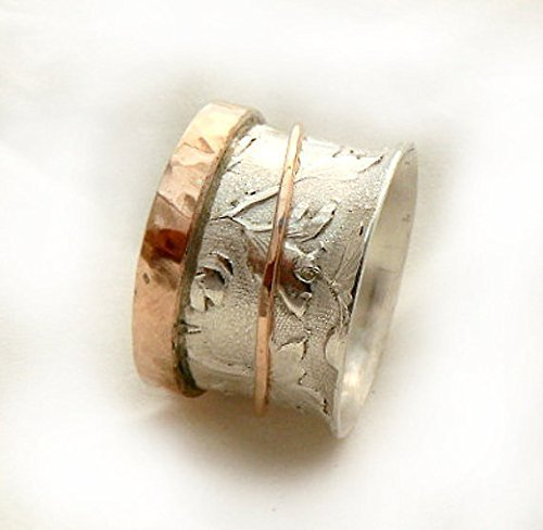 Spinner Ring, Sterling Silver with a 10k Rose Gold Hammered Edge and a Gold Spinner, Leaf Pattern Ring, Rotating Wedding Ring, Meditation Ring, Rose Gold Spinner Ring, Spring Wedding by IlanAmirJewelry