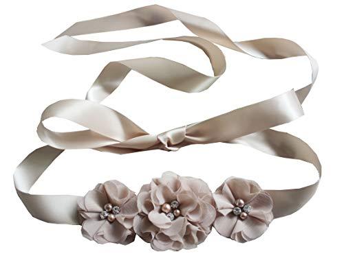 (Bridesmaid and Flowergirls sashes wedding sash pearls flowers belts)