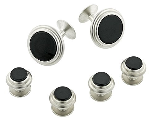 JJ Weston Brushed Finish Onyx Tuxedo Cufflinks and Shirt Studs. Made in the USA. ()