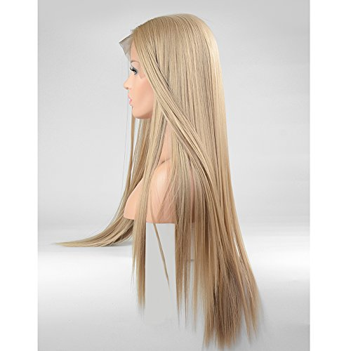 FUHSI Kanekalon Fiber 13×6 Inch Lace Real Natural For Women – Soft & Smooth, Straight Lace Front Wig, Elastic Straps, Comfortable & Adjustable –Color 103# Blonde 250D 22'' by FUHSI (Image #4)