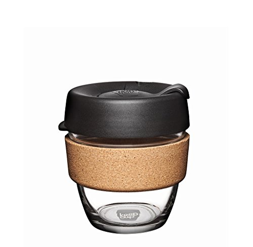 KeepCup 8oz Reusable Coffee Cup. Toughened Glass Cup & Natural Cork Band. 8-Ounce/Small, Espresso by KeepCup