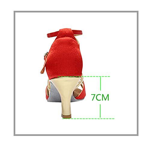 Baile Mujer Yudesun Zapatos Estándar Performance Bailarina Rojo Satén Informal Tango Hebilla Deportes Aire Calzado Libre Salsa Brillos 7cm Salón Práctica Latinos Danza Mujeres xwZIFZt