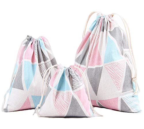 3PCS Cotton Linen Drawstring Storage Bags Pouch Sack Organizer With Pull String (B) -