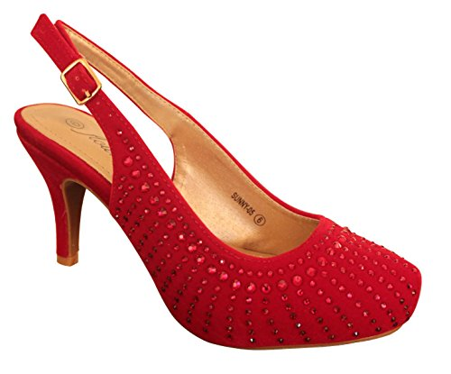 Heels Dance Classic Red High Womens Shoes Evening Rhinestones Pumps Formal cpIwpnExqY