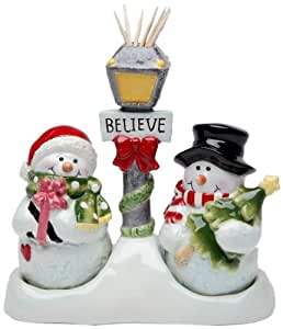 Cosmos Gifts 10650 Snowman Salt and Pepper Set/Toothpick Holder, 5-1/4-Inch