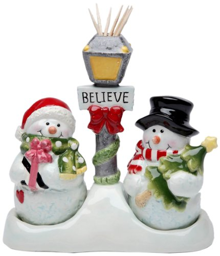 Cosmos Gifts 10650 Snowman Salt and Pepper Set with Toothpick Holder
