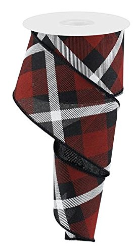 - Plaid Canvas Wired Edge Ribbon, 10 Yards (Black, Red, White, 2.5