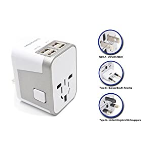 Power Plug Adapter - International Travel - w/ 4 USB Ports work for 150+ Countries - 220 Volt Adapter - Travel Adapter Type C Type A Type G Type I for UK Japan China EU Europe European By SublimeWare