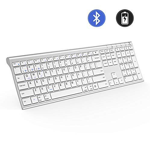 Multi-Device Bluetooth Keyboard, Jelly Comb Ultra Slim Full Size Rechargeable Wireless Bluetooth Keyboard Compatible for iPad, iPhone, Android Tablets, Windows, iOS, Mac OS - White and Silver