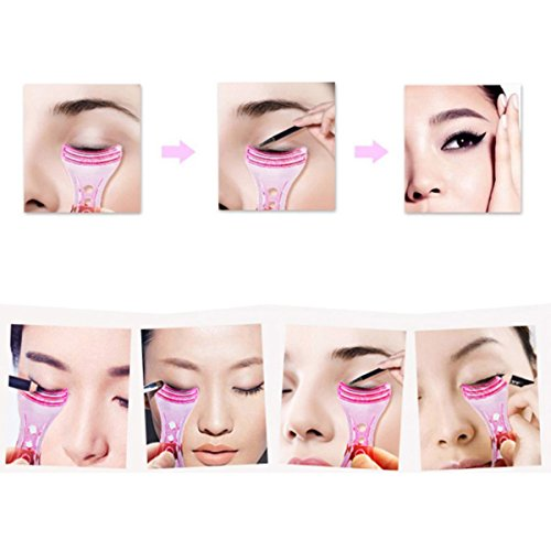 LEORX Women's Ladies Eyeliner Template Stencil Shaper Makeup Tool for Beginners (Pink)