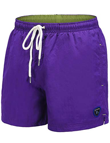 (BUYKUD Men's Swim Trunks Beach Board Shorts Surfing Swimming Bathing Suit Purple)