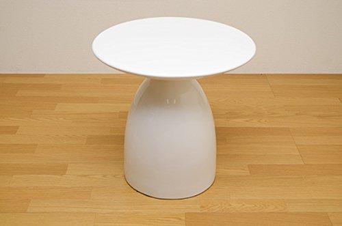 サイドテーブル 円形 FRP 鏡面仕上げ/おしゃれなテーブル インテリア グロス B06W58F88T  ホワイト白