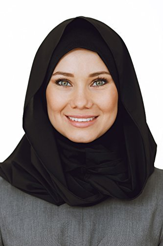Cotton and Shiffon head scarf, instant black hijab, ready to wear muslim accessories for women
