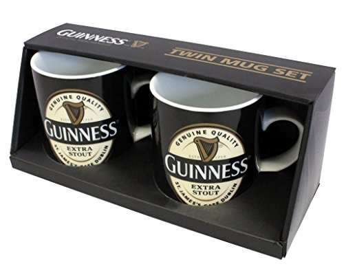 Guinness Label Twin Mini Mug Set - Ceramic Coffee and Tea Cup (Mug Set Twin)