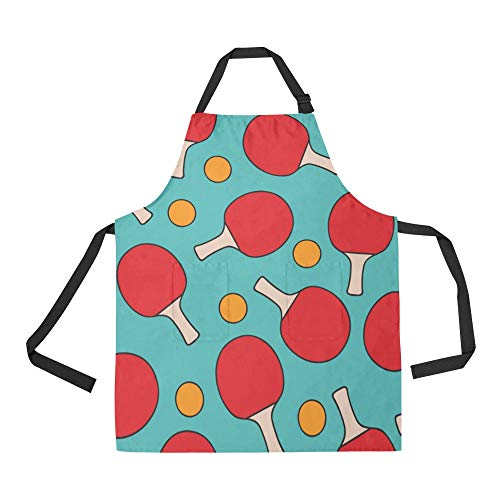 NQEONR Durable Table Tennis National Football Competition All Over Print Apron with an Adjustable Neck&Two Spacious Front Pocketst Unisex Kitchen Home Restaurant Apron for Baking Gardening