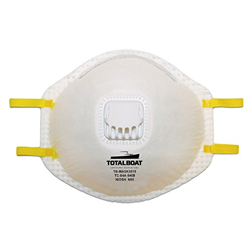 TotalBoat N95 Disposable Dust Mask with Exhalation Valve 10-Pack]()